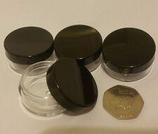 10ml Storage Pots black lid and clear base nail art, small beads glitter jar jfb