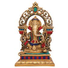 "Large Ganesha Statue Brass Ganesh Idol Ganpati Decor Religious Showpiece 16"""