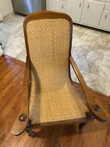 Dutch Colonial Cane Plantation Chair with Extended Arms