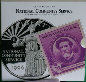 1996 S National Community Service Coin and Stamp US Mint Set Proof Silver Dollar