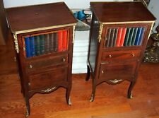 PAIR NIGHT STAND GORGEOUS BOOKS MOTIF WITH ORMOLO & WOOD  3 LEVELS H=31 3/8""