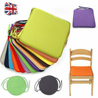 4x Tie On Seat Pads Dining Room Garden Kitchen Chair Cushions Outdoor Patio Foam