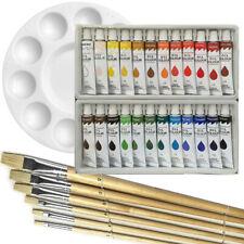 Artist 24 OIL COLOR Painting Paint Set + 6 Brush Set with White Palette SET