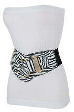 Dressy Women Sexy Gold Hook Buckle Black White Zebra Print Belt Size L XL XXL