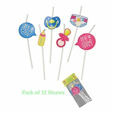 12 Pack Baby Shower Party Straws with Cutout Attached Tabel Decorations