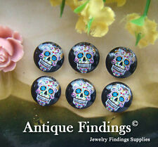 10PCS 12mm Photo Handmade Skull Glass Dome Cabochon Cameo Cabs BCH134C