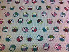 FRYETT`S Cotton OWLS Mulitcoloured Fabric for Curtain/Upholstery,Crafts,Quilting