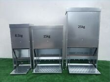 NEW GALVANISED CHICKEN POULTRY DUCK TREADLE FEEDERS 8.5/15/25Kg BACK IN STOCK!!!