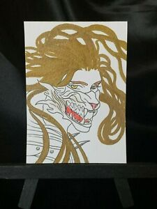 ACEO Original The Golden Beast Medium Black Ink Marker on Paper Signed by Artist