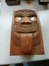 More details for vintage maori kauri wooden tiki face box hand carved art paua shell inlay nz