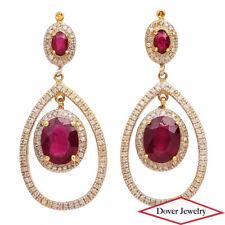 AIG 7.02ct Diamond Ruby 14K Gold Dangle Drop Earrings 8.9 Grams NR