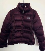 North Face Women's Medium Down Filled Nylon Quilted Brown Jacket Faux Fur collar