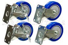 "4pc 4"" Wheel Swivel Plate Casters With Brake blue Polyurethane pu 1200LBS new"