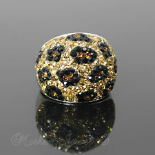 BREATHTAKING GOLD & BLACK REAL AUSTRIAN CRYSTAL STERLING SILVER SP RING SIZE 6