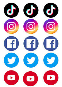 Instagram Twitter Youtube Cupcake Toppers | Icing/Wafer Paper | Edible Print