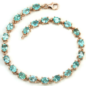 NATURAL 22 PCS. AAA GREEN APATITE OVAL STERLING 925 SILVER BRACELET 7.25 INCH.