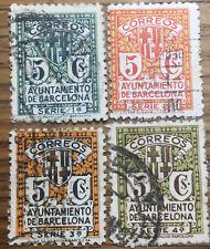 4 SELLOS AYUNTAMIENTO BARCELONA SERIE COMPLETA 1932 USADOS