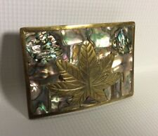 Maple Leaf Vintage Belt Buckle * 3.5 Inch Long Made In Mexico