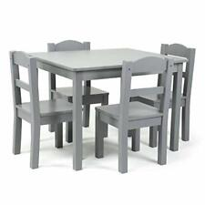 Wood 4 Kids Table and Chairs Set, Grey