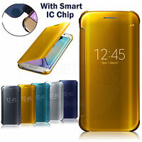 Mirror View Clear Smart Flip Case Cover for Samsung Galaxy S9/S8/ S7 Edge Note 9