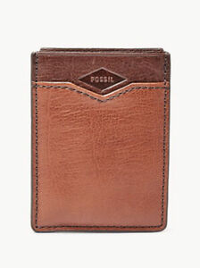 NWT Fossil Easton RFID Magnetic Money Clip Front Pocket Wallet Leather RP $48