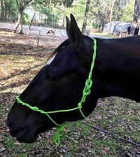 Lime Green 4 Knot Hand Tied  Natural Twisted Rope Cowboy Halter Bitless Bridle