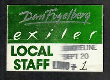 "Dan Fogelberg 1987 Exiler Tour 3""x4"" Peel Back Shoreline Local Staff Cloth Pass"