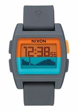 New Nixon Base Tide Digital Watch Gray Orange Teal