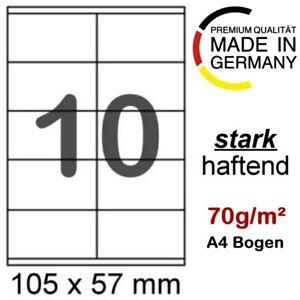 500 Etiketten 105 x 57 mm auf 50 Blatt A4 70g/m² Papier Format wie Herma 4425