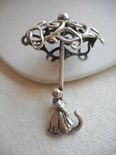 Vintage Sterling Silver Dutch Girl Under Fancy Umbrella Brooch RE289