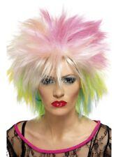 multicolor AÑOS 80 Rubio Diva Rock Star Peluca Disfraz Mujer