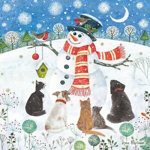 CHARITY Christmas Cards   Festive Snowman with Robin Cats & Dogs   Pack 10
