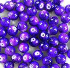 200Pcs 4mm Purple Lampwork Round Czech Glass Crackle Spacer Loose Beads  W62