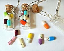 BOTTLE OF LITERALLY HAPPY PILLS chill drugs pendant necklace jar vial kawaii 2Y