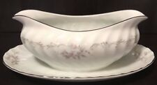 Gold Standard Genuine Porcelain China Gravy Boat Pink Floral 11 by 7 by 5""