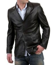 Men's Stylish Genuine Lambskin Real Leather Three Button Blazer Coat MB 05
