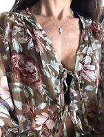 American Rag Brown Floral Print Polyester Tie Womens Blouse Top Shirt M Medium