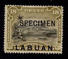 1894 Labuan 18c Mt Kinabalu Secimen Sc#56 Signed Mint No Gum