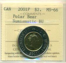"2001 Canada $2.00 ICCS MS-66 ""Polar Bear"" NBU"