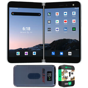 Microsoft Surface Duo 256GB (Locked AT&T) Smartphone, Glacier w/ Warranty Bundle