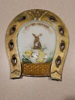 Vintage Milk Glass Easter Greeting Bunny Chick Horseshoe Plate Decor P.L. Co.
