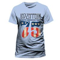Led Zeppelin T Shirt US Tour 75 Officially Licensed Mens Blue Classic Rock 1975