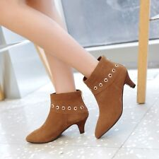 Womens Pointy Toe Suede Kitten Heel Chelsea Party Dress Work Ankle Boots Size