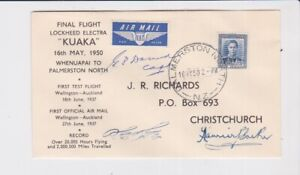 NEW ZEALAND STAMPS 1950 FIRST FLIGHT LOCKHEED ELECTRA SIGNED PILOT & CREW