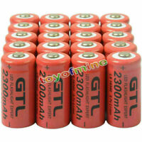 20pcs CR123A 16340 CR123 123A 3.7V 2300mAh Rechargeable Li-ion Battery Cell Red