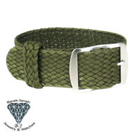 20mm Green Vintage Perlon Braided Straps For Rolex Tudor and Seiko Watch + Tools