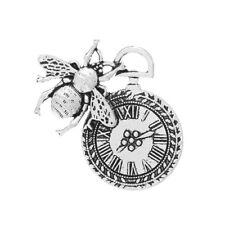 Packet 3 x Antique Silver Tibetan 40mm Bee & Clock Charm/Pendant ZX06645
