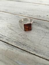 Sterling Silver 925 Amber Ring Size 9.25 Used