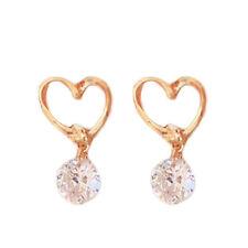 Women Love Heart French Hook CZ Earrings Gold Infinity Heart Dangle S Jewelry