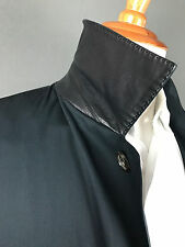 RECENT BRIONI 100% Silk w/ Leather Trim Navy Blue Rain / Over Coat Mens Jacket